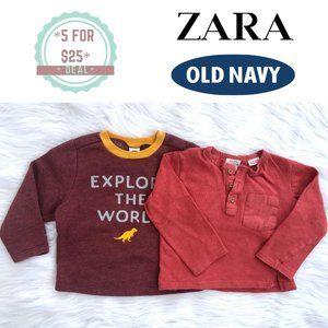 * ZARA/OLD NAVY long sleeve tops baby boy bundle